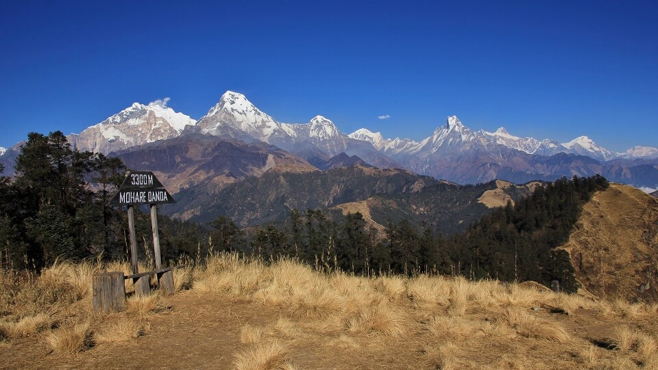 Annapurna community trektocht - zicht vanop Mohare Hill