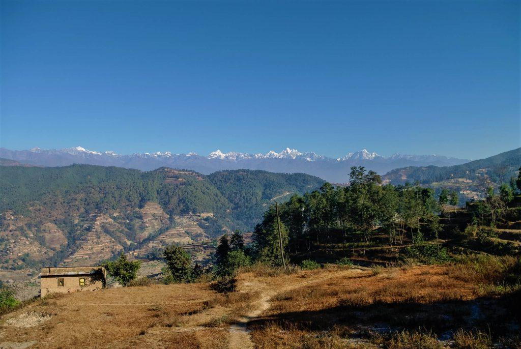 Culturele schatten in de Kathmandu vallei – panoramisch zicht op de Himalayas vanuit Nagarkot
