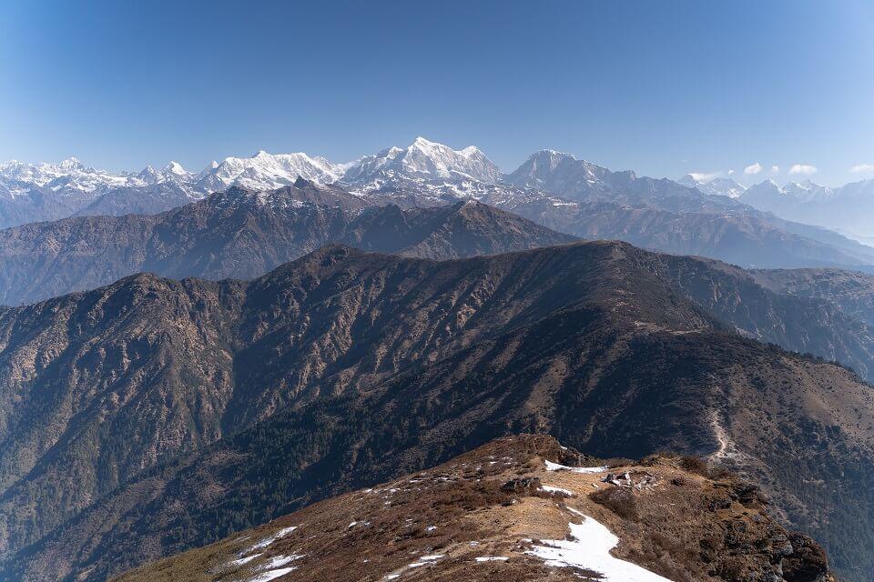 Pikey Peak trekking – zicht op de Himalayas en op de Everest tijdens de Pikey Peak trekking