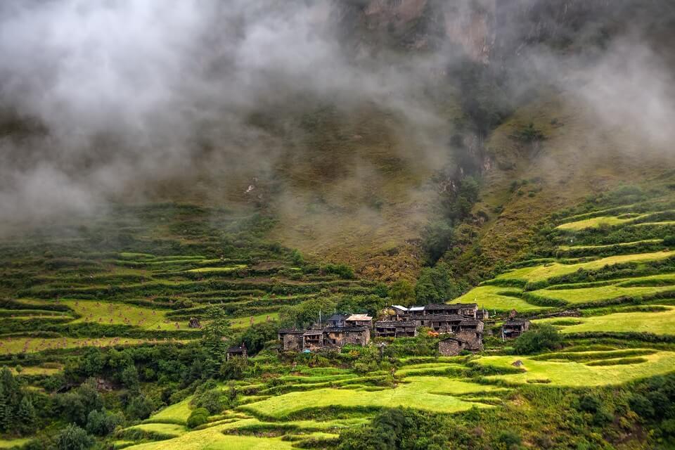 Manaslu met Tsum vallei trek – bergdorpje tussen groene weides tijdens de trekking