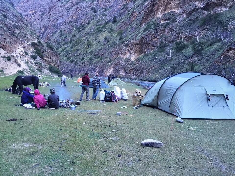 Upper Dolpo trek – tentenkamp tijdens de trekking